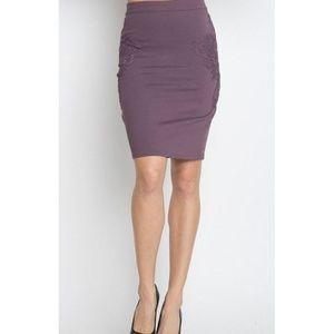 Ponte Floral Applique Mesh Bk Zip Midi Skirt